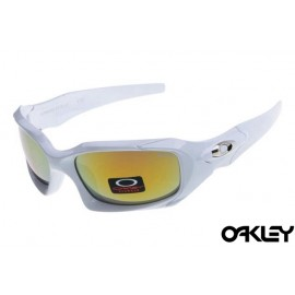 Oakley pit boss sunglasses in polished white and fire iridium