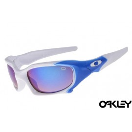 Oakley pit boss sunglasses in white and ice iridium