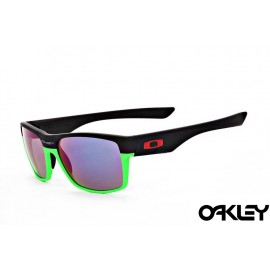 Oakley twoface sunglasses in matte black and green and violet iridium
