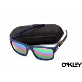 Oakley currency sunglasses in matte blue and fire iridium