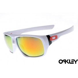 Oakley dispatch sunglasses in polished white and fire iridium