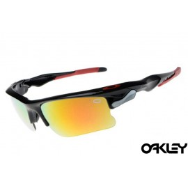 Oakley fast jacket sunglasses in polished black and fire iridium