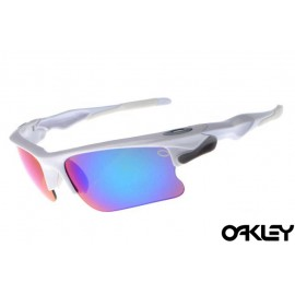 Oakley fast jacket sunglasses in polished white light grey and ice iridium