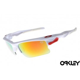 Oakley fast jacket sunglasses in polished white and fire iridium