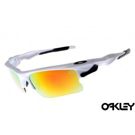Oakley fast jacket sunglasses in polished white and ruby iridium