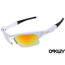 Oakley flak jacket sunglasses in matte white and fire iridium