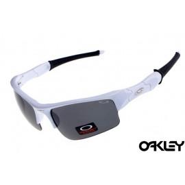 Oakley flak jacket sunglasses in white and black iridium