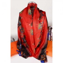 Hermes silk scarf red