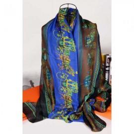Hermes silk scarf blue