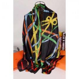 Hermes silk scarf black