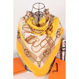 Hermes cotton silk square scarf yellow