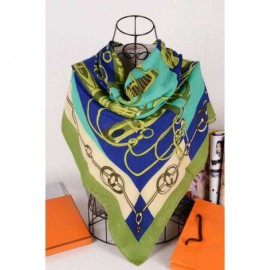 Hermes cotton silk square scarf green