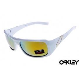 Oakley sideways sunglasses in white and fire iridium