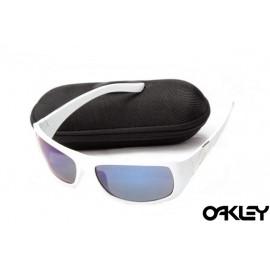 Oakley sideways sunglasses in white and ice iridium