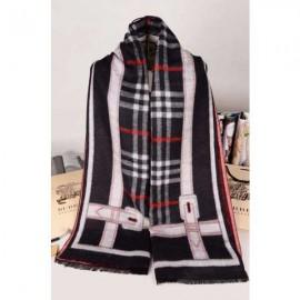 Burberry black cashmere scarf with white stripe