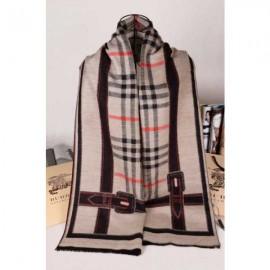 Burberry stone check cashmere scarf with black stripe