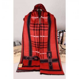 Burberry cashmere scarf red check with black stripe