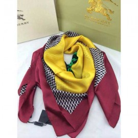 Burberry check silk yellow square scarf stitched dark red edges