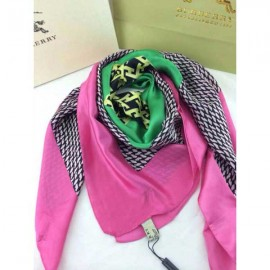 Burberry check silk green square scarf stitched pink edges