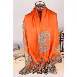 Burberry silk scarf orange with leopard grain stitched edges