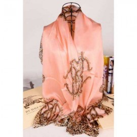 Burberry silk scarf pale pink with leopard grain stitched edges sale