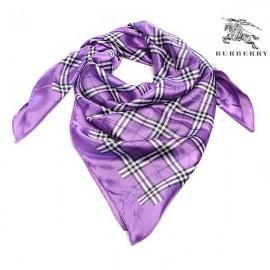 Burberry check silk purple square scarf