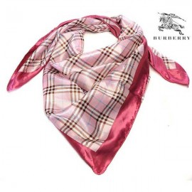 Burberry check silk pink square scarf stitched dark red edges