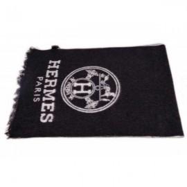 Hermes men's wool scarf black