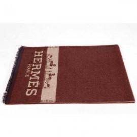 Hermes wool scarf brown for men