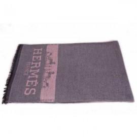 Hermes men's wool gray color scarf