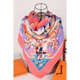 Hermes mythes silk square scarf pink