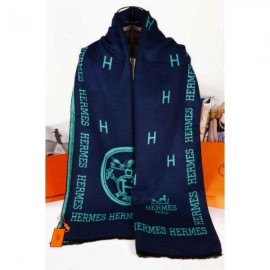 Hermes wool scarf navy color
