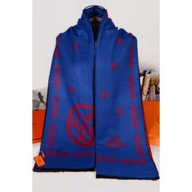 Hermes wool blue scarf