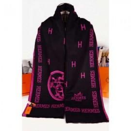 Hermes wool scarf black / pink logo
